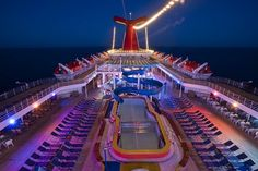 Main Pool at dusk on the Carnival Elation. Loved when the nightlife started out here..Dreamy, dancing in the moonlight...