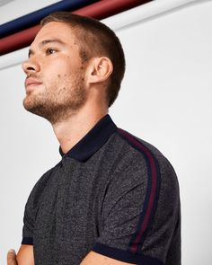 Stripe detail polo shirt - Charcoal | Tops & T-shirts | Ted Baker