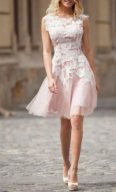 White Lace Applique Short Homecoming Prom Dress