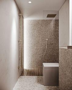 Minimal Bathroom, Modern Bathroom, Small Bathroom, Bathroom Colors, Restroom Design, Bathroom Interior Design, Timber Staircase, Ideas Geniales, Small House Design