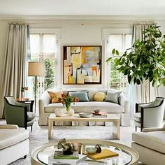 Elegant Living Room with a pop of color!!