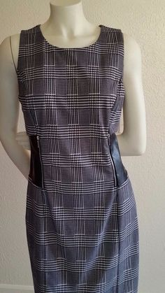 Black and White Herringbone Dress with Faux Leather Trim Size 12 | eBay