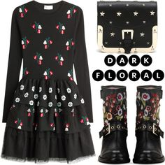 How To Wear In Bloom Dark Florals Outfit Idea 2017 - Fashion Trends Ready To Wear For Plus Size, Curvy Women Over 20, 30, 40, 50