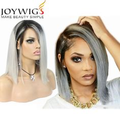 ombre grey short human hair wig #ombrewig #humanhairwig #greywig only sell$135 whatsapp:+8613954254630 Email: daisy@joywigs.cn