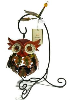 Pier One Tealight Candle Holder Owl Wide-Eyed Orange Fall Leaves 2935027 New in Home & Garden, Home Décor, Candle Holders & Accessories | eBay