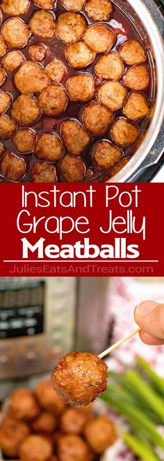 Pressure Cooker {Instant Pot} Grape Jelly Meatballs – These easy to make, traditional, meatballs with grape jelly and chili sauce are perfect for parties and game day gatherings!  They make a great family friendly dinner served over rice too! Quick, Easy And Delicious Using Your Instant Pot or Pressure Cooker! via @julieseats