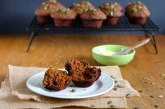 Whole wheat pumpkin muffins by themuffinmyth.com