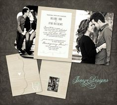 Wedding Invitation  Boutique Tri Folded Design  TEMPLATE por Jeneze, $10.00