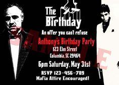 Godfather Scarface Mafia Invitation by rowzsmith on Etsy Mafia Party, 90th Birthday Parties, Dad Birthday, Gangster Party, Speakeasy Party, Italian Party, Family Theme, The Godfather, Birthday Invitations
