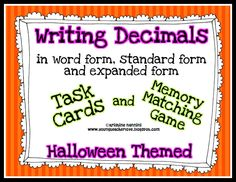 Writing decimals in standard form, word form and expanded form task cards and memory matching game!! Common Core aligned and Halloween themed for students to complete as a fun Halloween game or center. Print them in black and white and use them all year long as a fun and different way to review!