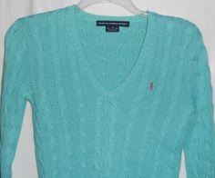 RALPH LAUREN SPORT Women/Junior Cable Sweater Size S Small Blue V-Neck Long Slve