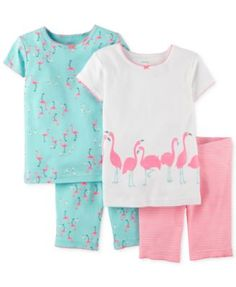 Carter's Little Girls' 4-Piece Flamingo Pajamas