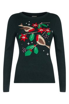 Intarsia Robin Jumper from Yumi. This Christmas jumper features a robin print with embellishments and embroidery, long sleeves and a crew neckline. Shop ladies knitwear now.