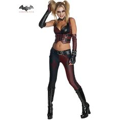 Wholesale Halloween Costumes - Batman Arkham City Harley Quinn Women's Sexy Costume
