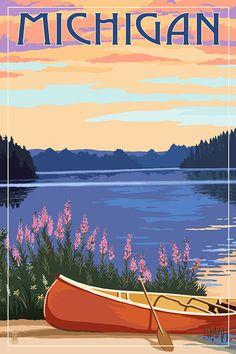 Michigan - Canoe & Lake - Lantern Press Artwork