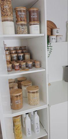 Kitchen Pantry Design, Kitchen Jars, Home Decor Kitchen, Home Kitchens, Kitchen Items, Kitchen Utensils, Kitchen Tools, Kitchen Cabinets, Kitchen Organization Pantry