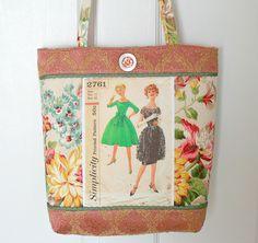 Vintage Sewing Pattern Elegant Tote Bag Purse FREE SHIP. $30.00, via Etsy.