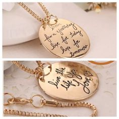 Double sided Live the life you love necklace Brand new double sided necklace. Chain is included. Comes in a beautiful gold pouch. Jewelry sale: buy one, get another 30% off. Price is firm. Elegant Jewelry Jewelry Necklaces