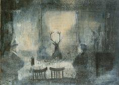 Francesco Balsamo - L'ospite, 2008.  Matita, pastello e tempera su carta, 21 x 29,5 cm.