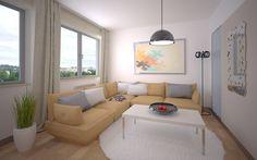 Aranżacja mieszkania - salon przy Strzeleckiej w Poznaniu. Mieszkania na sprzedaż w nowej inwestycji - centrum Poznania. #Poznań #mieszkania #lokal #wnętrze #salon #wystrój #pokój #sofa