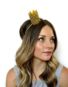 Glitter Crown-  Bride Mini Crown Bachelorette Party Headband  Gold Glitter Photo Prop