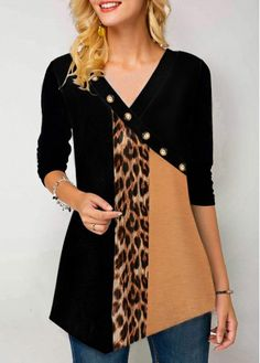 Leopard Print Button Detail Long Sleeve T Shirt - Leopard Print Button Detail Long Sleeve T Shirt Source by threepoodles - Vestidos Neon, Trendy Tops For Women, Blouse Designs, Ideias Fashion, Print Button, Fashion Outfits, Womens Fashion, Long Sleeve, Sleeves