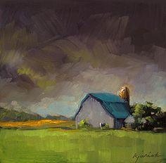 """Blue Barn"" - Original Fine Art for Sale - © Karin Jurick"