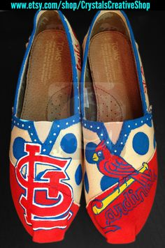 St. Louis Cardinals Baseball TOMS by CrystalsCreativeShop on Etsy