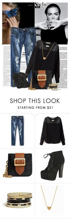 """""""Win a Black PU Blouse - SheIn"""" by lula-l ❤ liked on Polyvore featuring Alasdair, Burberry, Breckelle's, GUESS and Minnie Grace"""