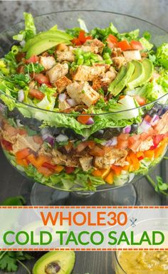 The perfect summer salad to feed a crowd! This layered cold taco salad is a party favorite. Paleo, dairy free & gluten free The perfect summer salad to feed a crowd! This layered cold taco salad is a party favorite. Paleo Taco Salad, Paleo Snack, Paleo Menu, Paleo Recipes Easy, Whole Food Recipes, Paleo Dairy, Recipes Dinner, Paleo Breakfast, Paleo Dinner