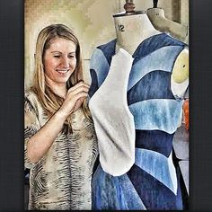 Finishing one of the dress from recycling jeans collection The Garden Of Denim