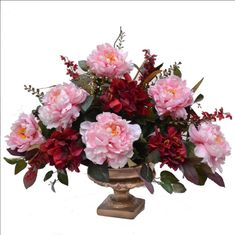 288 best silk flower arrangements images on pinterest in 2018 silk this lovely silk flower arrangement will add elegance to any room created with silk like pink peonies paired with burgundy peonies and rich green foliage mightylinksfo