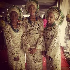 Nigerian wedding antique gold and green ore-iyawo aso-ebi color combination