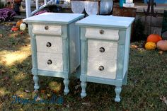 Painted Furniture - this pair of nightstands painted in General Finishes Persian Blue and Antique White with a crackled age finish are perfect for todays higher beds and larger rooms - by Hope Lane Loft