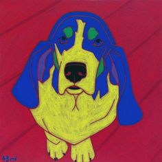 "Basset Hound Art - Basset Dog Pop Art 11"" X 14"" MATTED print by Angela Bond. ""Shorty"" *limited edition matted print of one of my pop art paintings. Angela Bond @ 2009 mat size - 11"" X 14"" (standard sized white mat) print size - 7"" X 7"" high quality print using Epson heavy weight matte paper signed, titled and numbered www.angelabondart.com."