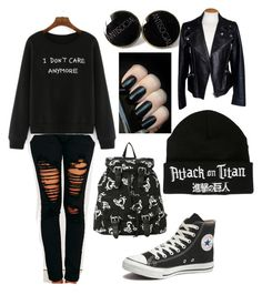 """I don't care anymore"" by unicornsparklepoop on Polyvore featuring Machine, Converse and Alexander McQueen"