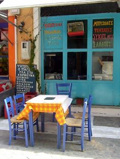 A taverna in Koroni, Messinia, Southwest Peloponnese, Greece. Cafe Bistro, Cafe Bar, Places Around The World, Around The Worlds, Zorba The Greek, Greek Blue, Cool Cafe, Outdoor Dining, Outdoor Spaces