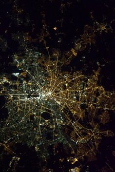 Decades after the wall was torn down, Berlin is still divided into East and West by lightbulb fittings, and the difference can be seen from space. East (right) primarily uses bulbs with sodium gas, and West (left) uses halide bulbs.  Via Col. Chris Hadfield