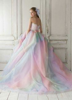 Ombre Ball Gown Charming Prom Dress, long prom dress, evening dress,prom dress, - 2020 New Prom Dresses Fashion - Fashion Of The Year Pastel Wedding Dresses, Rainbow Wedding Dress, Cute Prom Dresses, Elegant Dresses, Pretty Dresses, Formal Dresses, Pastel Dresses, Rainbow Prom Dress, Maxi Dresses