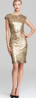 Can I Wear a Metallic Dress to My Son's Wedding? If it works with the bride and the color scheme of the wedding a subtle metallic like a pewter, gold or silver dress would be beautiful.