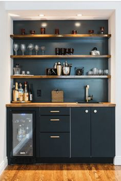 32 Amazing Bar Shelves Ideas For Your Home - The home bar that takes up a corner of the room or an entire room is definitely the one to have. But, what if you don't have that kind of space? Home Wet Bar, Diy Home Bar, Mini Bar At Home, In Home Bar Ideas, Small Bars For Home, Petits Bars, Home Bar Rooms, Home Bar Furniture, Cheap Furniture