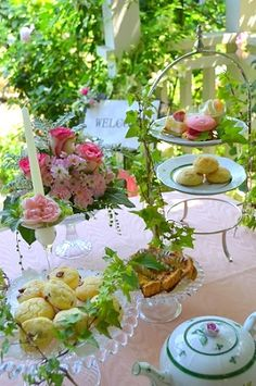 Garden tea party Tablescape Centerpiece www.tablescapesbydesign.com https://www.facebook.com/pages/Tablescapes-By-Design/129811416695