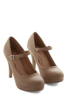 Timeless of My Life Heel in Caramel. Dance the night away in these pretty platform heels! #tan #modcloth