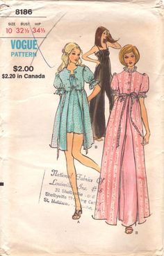 f1cf252716 Vogue 8186 1970s Misses Lingerie Sleeper Empire Waist Jumpsuit and Robe  Pattern Womens Vintage Sewing Pattern UNCUT Size 10 Bust 32 NO ENV
