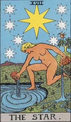 XVII - The Star  Upright:Hope. Optimism. Peace. Inspiration. Harmony. Protection, comfort and relief. Restoration. Healing.  Reversed: Unjustified pessimism, disappointment. Delays. Anxiety. Depression.