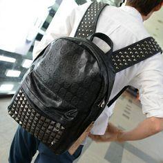 stacy bag hot sale women men leather backpack female male rivet skull punk travel backpack student school bag man ladies bag $9.00