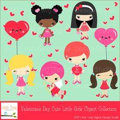 Valentine's Day Kids Children  Digital Clipart by Dragonflytwist, $5.00