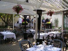 Bi-level covered patio with fountain at Avalon Restaurant http://www.avalonrestaurant.net