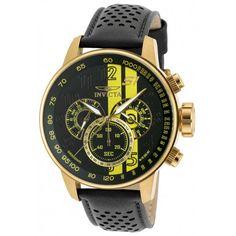 Invicta 19905 Gents Chrono Black Dial Black Leather Band GMT Watch,    #Invicta,    #invicta19905