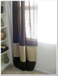 Burlap Striping - Domestically Speaking  Add color strip to silk curtain panels in bedroom to lengthen.
